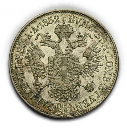 20 Krejcar Františka Josefa I. 1852 A– Hlava doleva